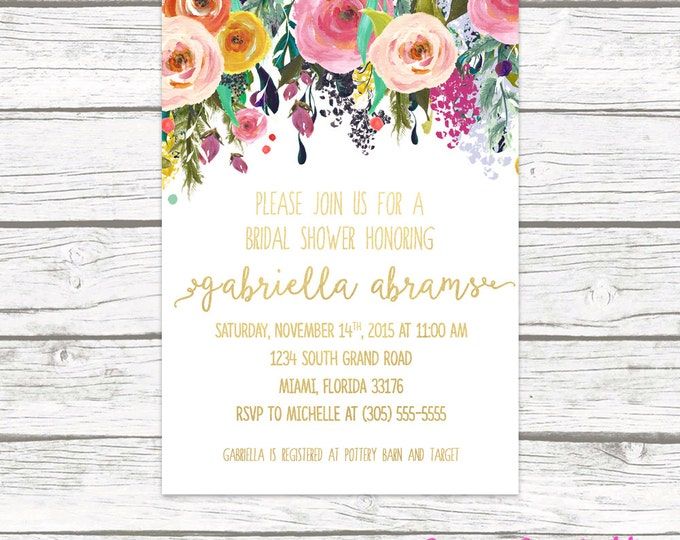 Gold Foil Floral Bridal Shower Invitation, Garden Bridal Shower Calligraphy Invite, Pink Mint Coral Bridal Shower Flower, Printable