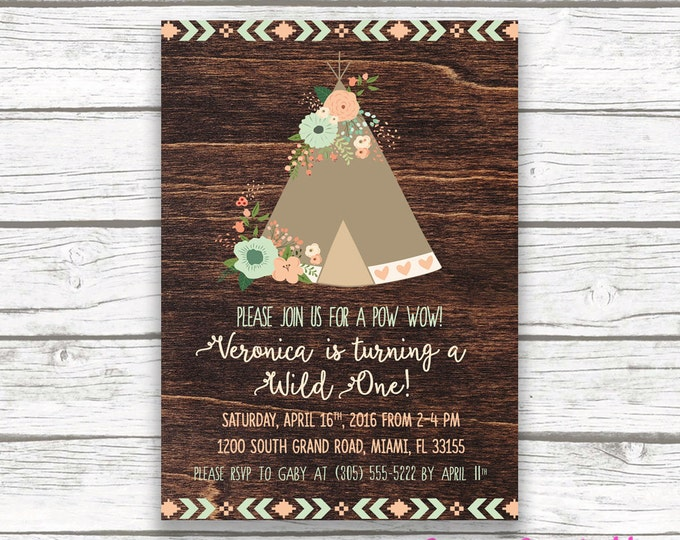 Teepee Boho Wild One Birthday Invitation, Girl First 1st Birthday, Pow Wow Floral Mint Peach, Tribal Arrow Back, Printed Printable Invite