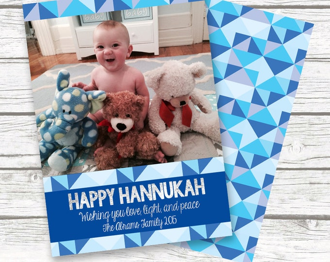 Hanukkah Card, Hanukkah Photo Card, Happy Hanukkah Card, Chanukah Card, Blue and Silver Hanukkah Card, Holiday Card, Jewish Holiday Card