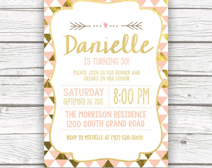 Peach and Gold Foil 30th Birthday Party Invitation, Dirty 30, Flirty 30 Thirty Birthday Invite, Printed or Printable Invitation