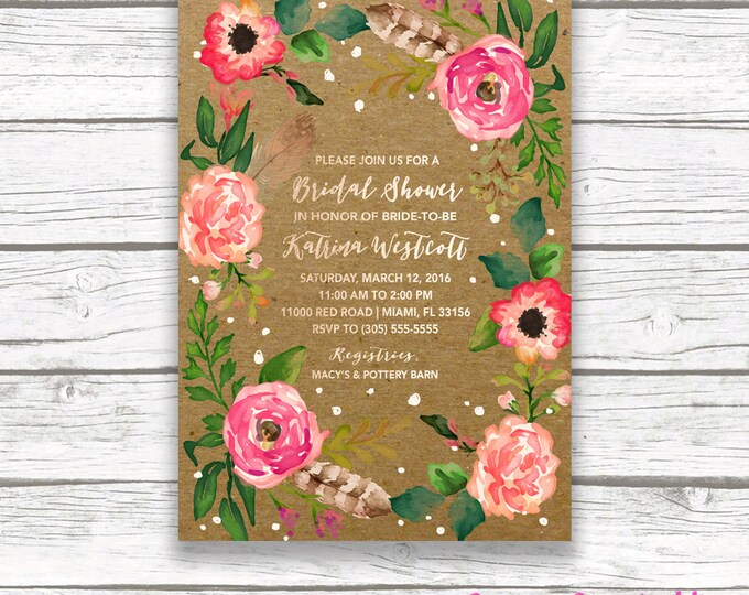 Kraft Boho Bridal Shower Invitation, Floral Wreath Rose Gold Foil Feather Flower Wedding Invite, Kraft Paper Peach Pink Coral Printable