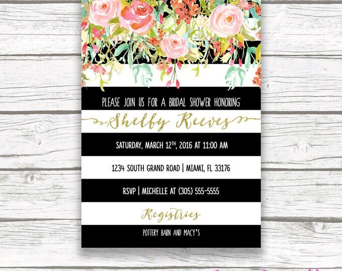 Bridal Shower Brunch Invitation, Floral Black & White Stripe Bridal Shower Invite, Garden Bridal Shower Invitation, Spring Bridal Shower
