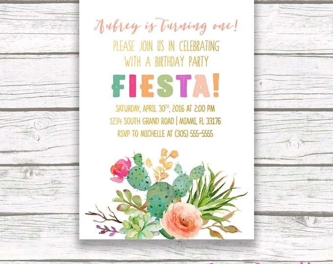 Fiesta Birthday Invitation, Cactus Birthday Invitation, Fiesta First 1st Birthday Invitation, Cinco de Mayo Invitation, Printable Invite
