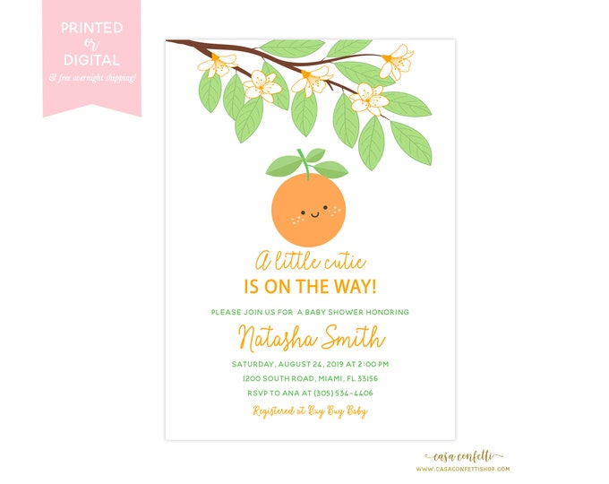 Orange Little Cutie Baby Shower Invitation Gender Neutral, A Little Cutie is on the Way Boy, Citrus Baby Shower, Fruit Baby Shower Theme