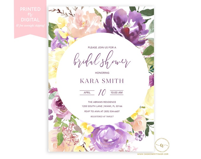 Purple Floral Bridal Shower Invitation, Lavender Bridal Shower Brunch Invitation, Spring Invitation, Printed or Digital