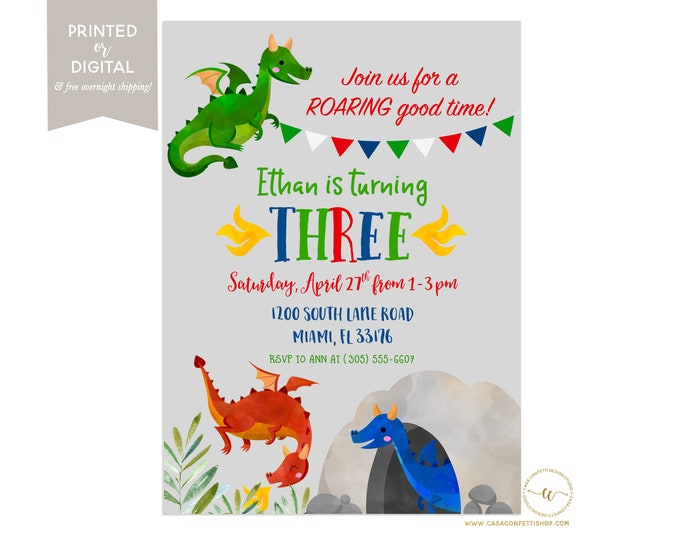 Dragon Birthday Invitation, Dragon Invitation, Dragon Birthday Party Invite, Medieval Birthday, First Birthday Boy