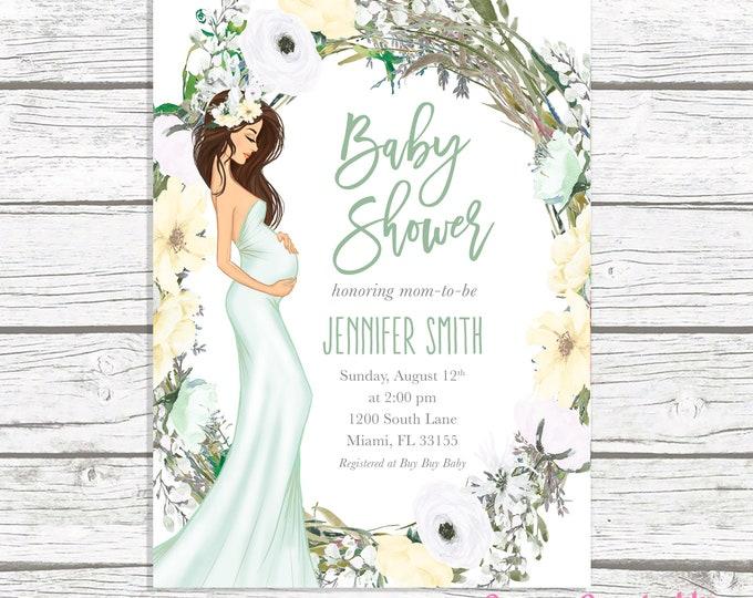 Gender Neutral Baby Shower Invitation, Green Baby Shower Invitation, Boho Pregnant Mom Baby Shower Invite, Baby Bump Baby Shower Printable