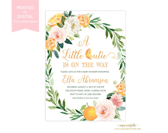 A Little Cutie Baby Shower Invitation Girl, A Little Cutie is on the Way Floral, Orange Citrus Baby Shower, Fruit Baby Shower Theme Invite