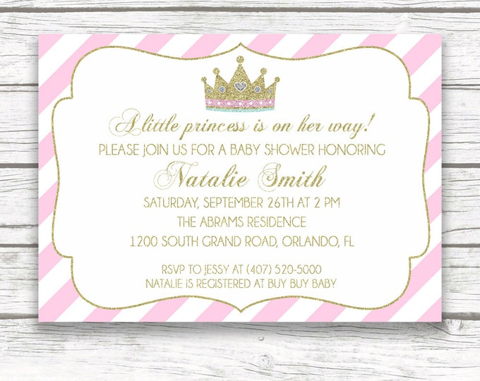 Pink and Gold Princess Baby Shower Invitation, Pink White Striped Gold Glitter Baby Girl Shower, Princess Tiara Invite, Printed or Printable