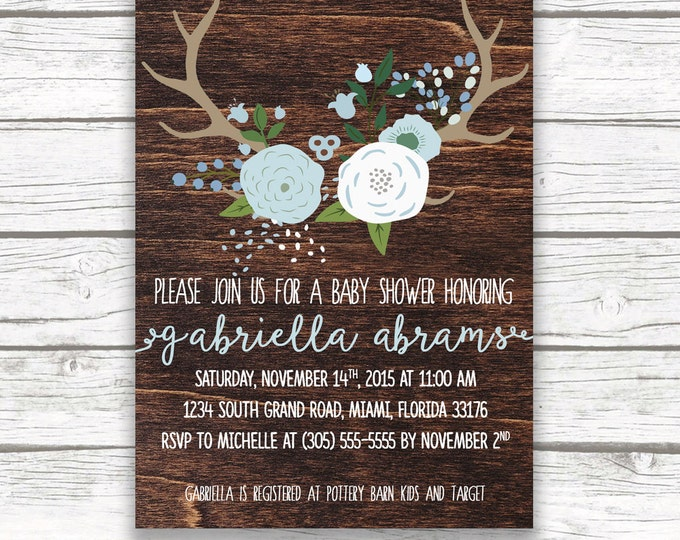 Baby Boy Dark Wood Antler Boho Baby Shower Invitation, Blue and White Boy Baby Shower Invite, Printed or Printable Invitation, Matching Back
