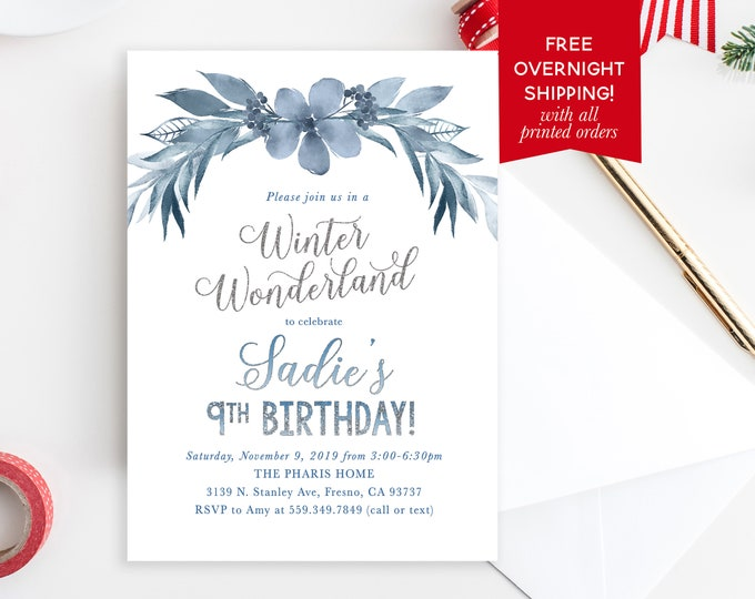 Blue Floral Winter Birthday Invitation, First Birthday Winter Wonderland Invitation, Snowflake Birthday Invitation, Winter Onederland