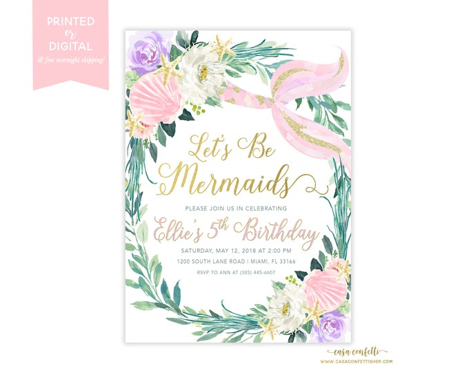 Pink Mermaid Birthday Party Invitation, Under the Sea Birthday Invitation, Pastel Mermaid Invitation, Floral Let's Be Mermaids Girl Invite