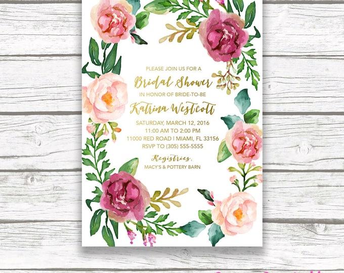 Boho Bridal Shower Invitation, Floral Bridal Shower Invitation, Floral Wreath, Gold Foil Burgundy Maroon Marsala Watercolor Printable Invite
