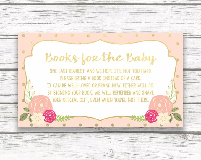 Bring a Book Instead of a Card Baby Shower Insert, Stock Baby's Library, Peach and Gold Foil Floral, Printable Girl Shower Invitation Insert