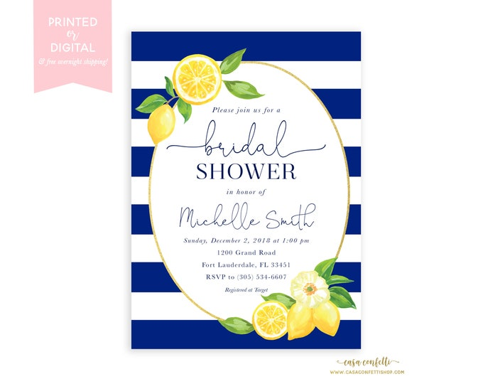 Lemon Bridal Shower Invitation, Navy Bridal Shower, Italian Bridal Shower Invitation, Positano Tuscan Bridal Shower Invitation
