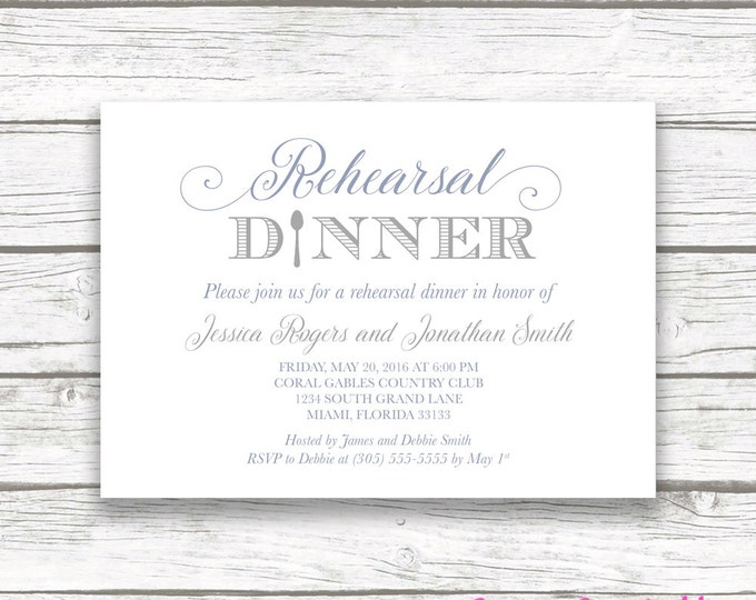 Rehearsal Dinner Invitation, Slate Blue Rehearsal Dinner Invitation, Gray Rehearsal Dinner Invite, Printable Rehearsal Dinner Invitation