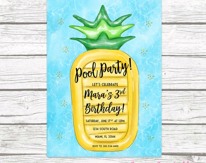 Pool Party Invitation, Pineapple Birthday Invitation, Pool Float Invitation, Pool Invitation, Pineapple Birthday Invite, Printable Invite