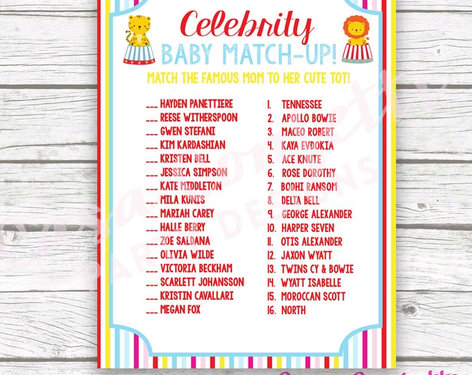 Circus Celebrity Baby Match Game, Circus Printable Baby Shower Game, Carnival Baby Shower Game, Printable Baby Shower Game, Baby Boy Shower