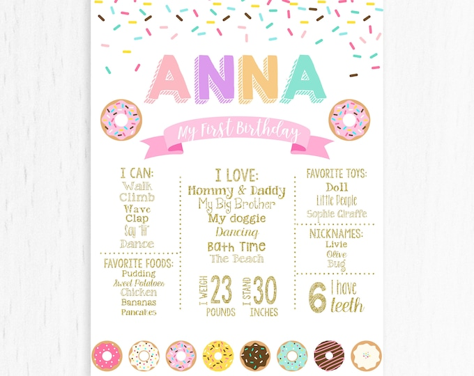 Donut First Birthday Chalkboard Sign, Donut Grow Up Donut Milestone Board, Donut Birthday Board, Printable Custom Girl 1st Birthday Poster