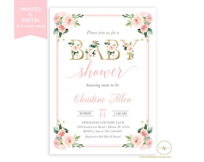 Blush Baby Shower Invitation Girl, Pink and Gold, Floral Baby Shower Brunch Invitation, Printed or Digital
