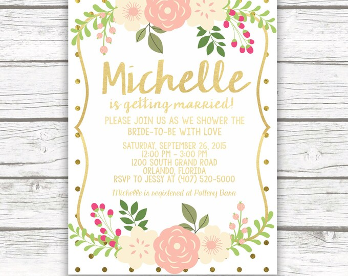 Gold Foil Bridal Shower Invitation w/ Matching Back, Pink and Gold Polka Dot Bridal Shower, Pink Peony, Printed or Printable Invitation