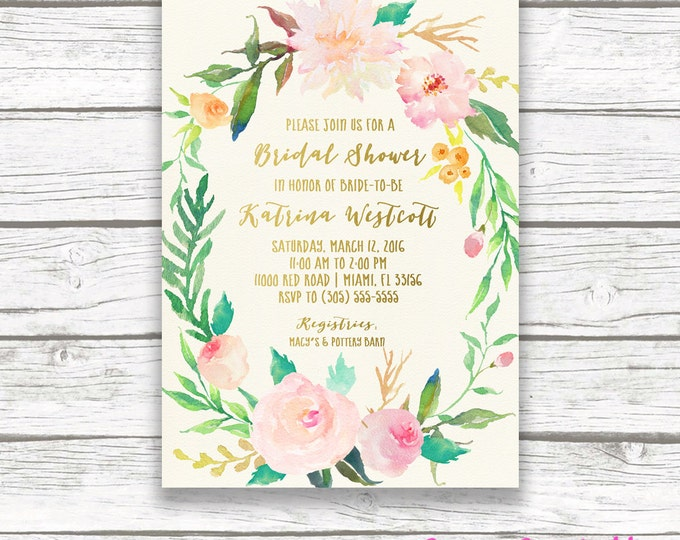 Bridal Shower Invitation, Bridal Shower Brunch Invitation, Garden Bridal Shower Invitation, Watercolor Floral Bridal Shower Invite