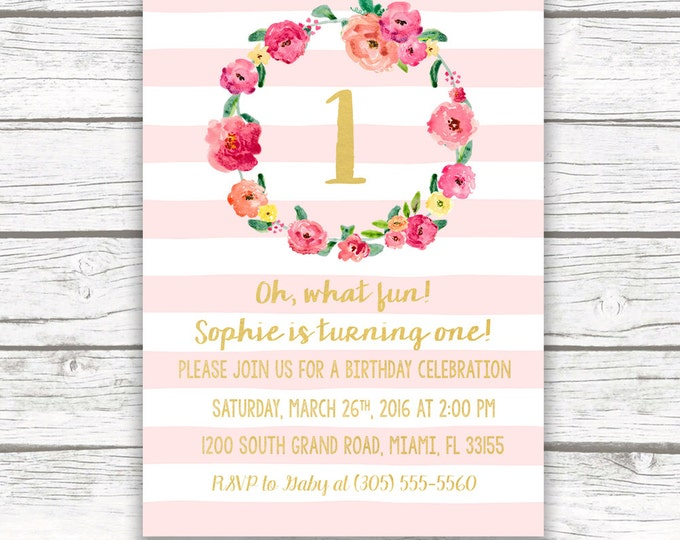 Blush Pink Striped Gold Foil First Birthday Invitation, Girl One 1st Birthday Pink Pastel Floral Wreath, Printed Printable Invite