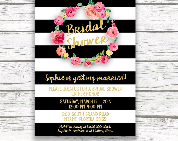 Black and White Striped Gold Foil Bridal Shower Invitation, Pink Floral Wreath Invite, Printed or Printable, Matching Back