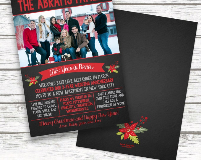 Chalkboard Year in Review Christmas Holiday Photo Card, Newsletter Family Christmas Card, Personalized Printed or Printable, Matching Back
