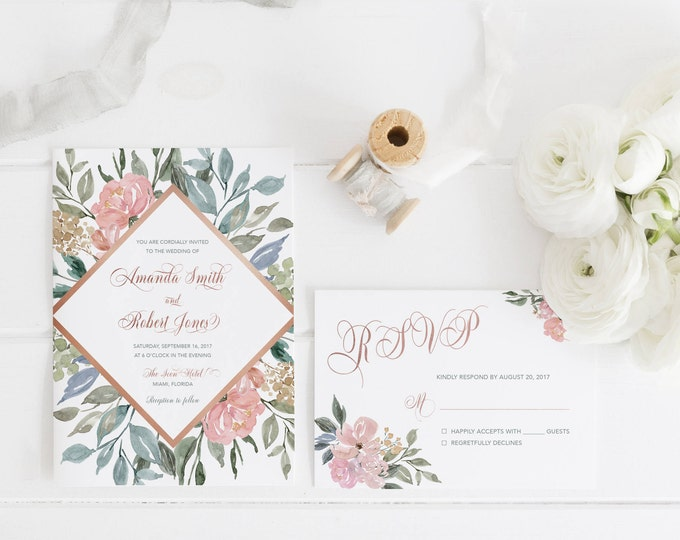 Rose Gold Wedding Invitation, Blush Floral Wedding Invitation, Blush Wedding Invitation, Rustic Wedding Invitation, Boho Wedding, Printable