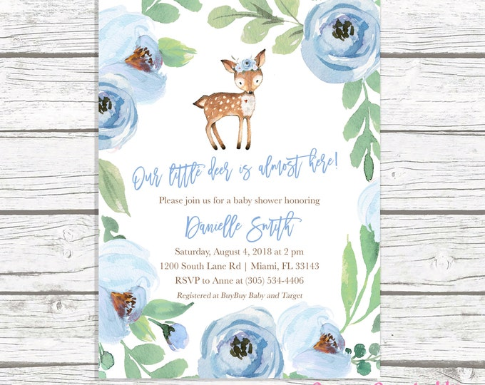 Deer Baby Shower Invitation, Boy Baby Shower Invitation, Woodland Baby Shower Invite, Blue Floral Deer Baby Shower, Leaves Baby Shower