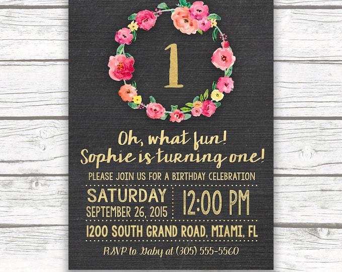 Chalkboard Gold Foil First Birthday Invitation, Girl One 1st Birthday Pink Floral Wreath, Printed or Printable Invitation, Matching Back
