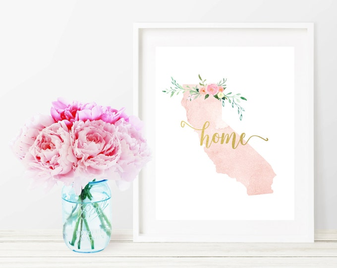 California State Silhouette Art Print, Pink Watercolor Map Printable Home Nursery Decor, Floral Wall Art, Gold 8x10 Art Print, Dorm Decor