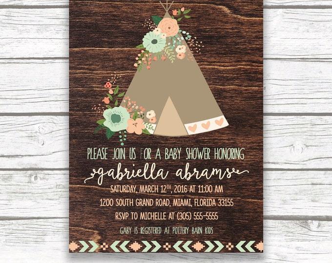 Teepee Boho Baby Shower Invitation, Floral Mint and Peach, Wood Rustic Southwestern Boho, Boy Girl Gender Neutral, Printed Printable Invite