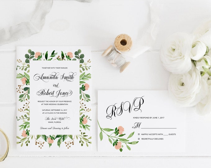Blush Floral Wedding Invitation, Floral Wedding Invitation, Leaves Wedding Invitation, Pink and Green Wedding Invitation, Printable Wedding