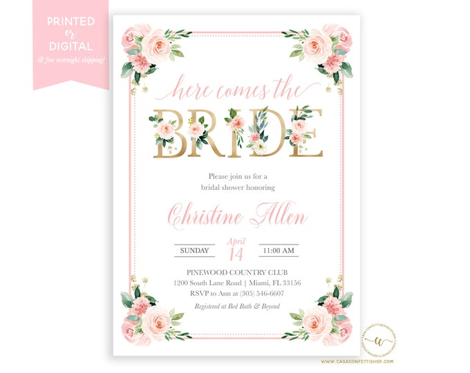 Blush Bridal Shower Invitation, Here Comes the Bride GardenInvitation, Bridal Shower Brunch, Pink Floral Invite, Printed or Digital