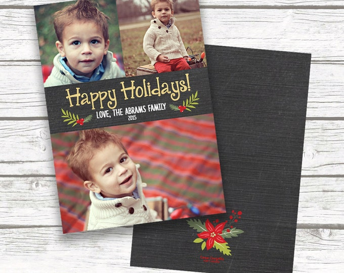 Chalkboard Gold Christmas Holiday Photo Card, Gold Foil Happy Holidays Card, Multi Picture, Personalized Printed or Printable Matching Back