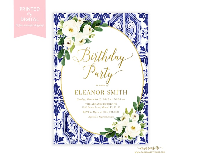 Blue and White Chinoiserie Birthday Invitation, White Floral Adult Birthday Dinner, Ginger Jar Floral Birthday Invite, Blue Tile Birthday