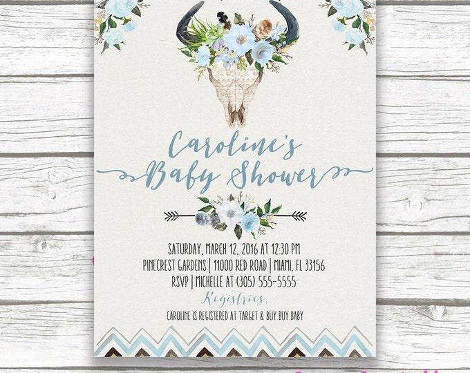 Boho Baby Shower Invitation Boy, Bohemian Baby Shower Invite, Bullhead Tribal Baby Shower Invitation, Blue Antler Invitation, Printable