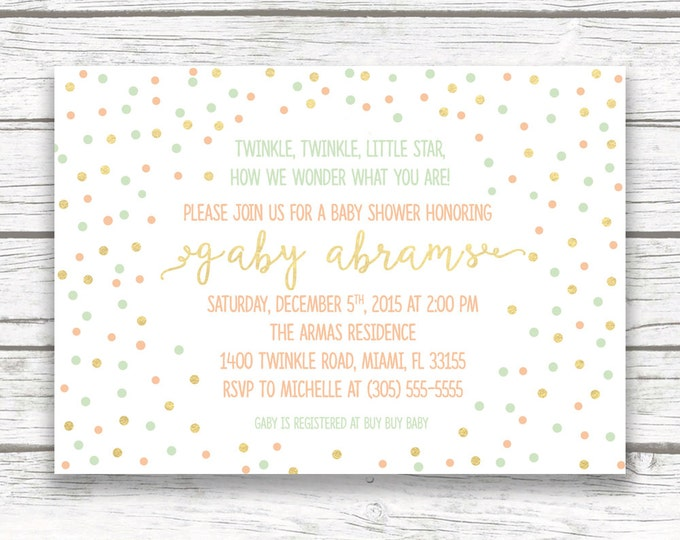 Twinkle Twinkle Little Star Baby Shower Invitation, Gender Neutral Boy Girl, Confetti Gold Mint Peach Dot Confetti, Printed Printable Invite