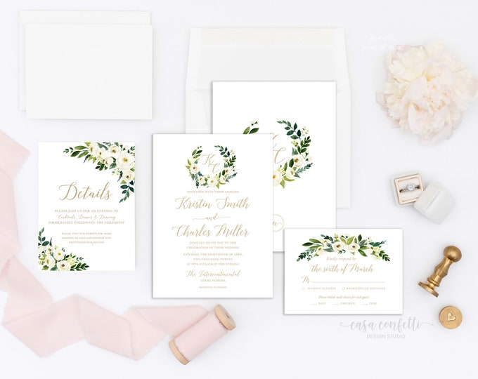 White Floral Monogram Wedding Invitation Suite, Southern Rustic Wedding Invitation, White Peony Wedding Invite, Greenery Wedding