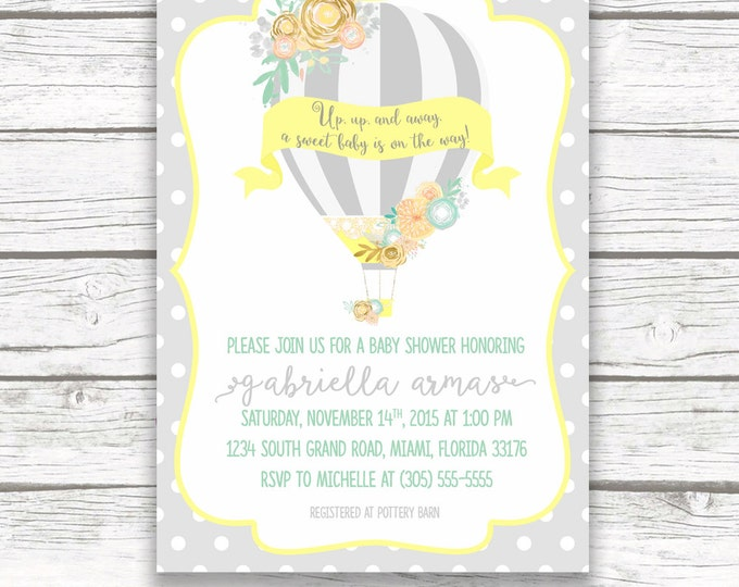 Hot Air Balloon Baby Shower Invitation, Gray Yellow and Teal Gender Neutral Invite, Floral French Chic, Printed or Printable Invitation