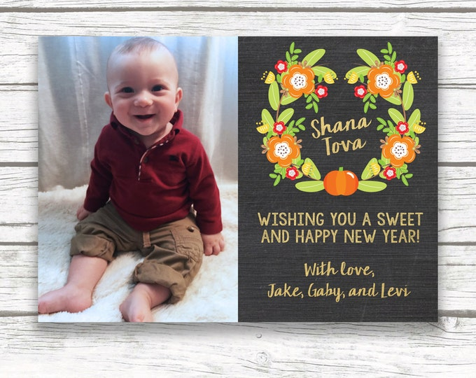 Rosh Hashanah Card, Jewish New Year Card, Shanah Tovah Photo Greeting Card, Autumn Wreath Photo Card, Fall Photo Card, Chalkboard and Gold