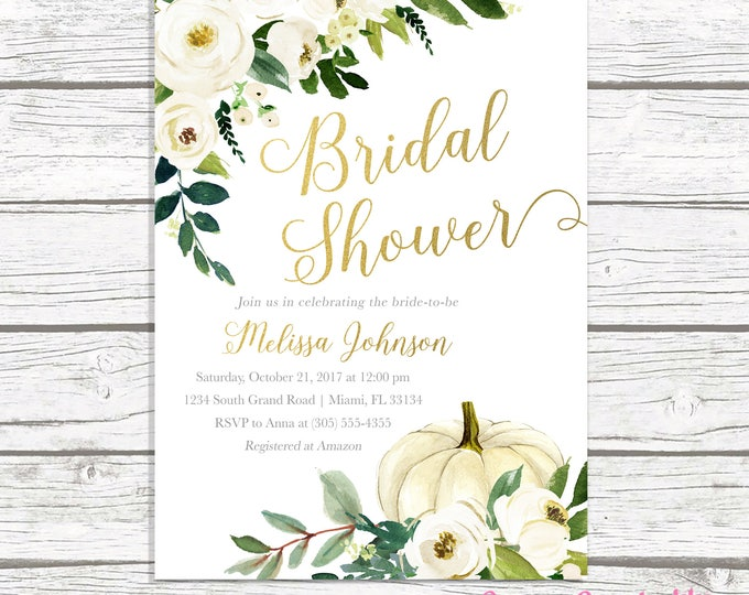 Fall Bridal Shower Invitation, Pumpkin Bridal Shower Invitation, Rustic White and Gold Bridal Shower, Green Leaves Bridal Shower Invite