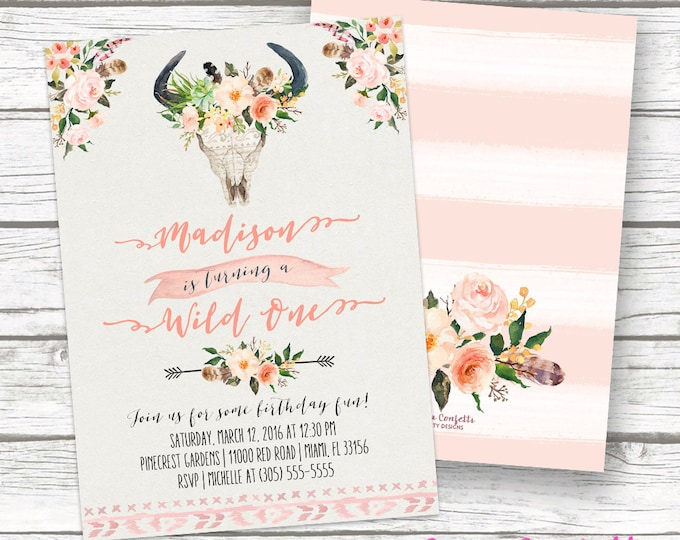 Wild One Birthday Invitation, Boho Girl First 1st Birthday Invitation, Tribal Birthday Party Invite, Floral Antler Printable Invitation
