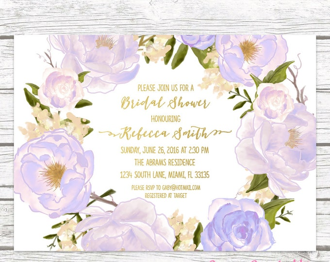 Lavender Bridal Shower Invitation, Rose Floral Bridal Shower Invitation, Purple Bridal Shower Invite, Wedding Shower Printable