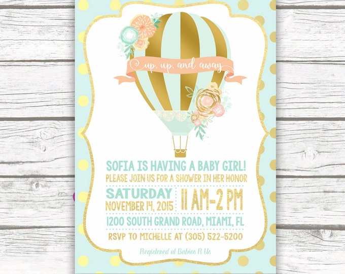 Gold Foil Hot Air Balloon Baby Shower Invitation, Mint and Peach Baby Shower Invitation, Mint and Pink, Printed or Printable Invitation