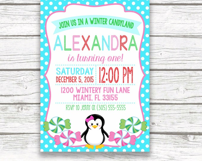 Winter Onederland Birthday Invitation, Winter Wonderland Birthday Invitation, Winter Candyland Birthday Invitation, First Birthday Girl