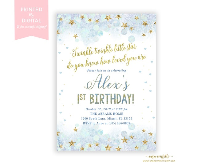 Twinkle Twinkle Little Star Birthday Invitation Boy, First Birthday Boy, Blue and Gold Twinkle Twinkle Invite, Printable