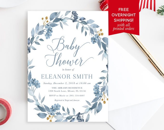 Blue Floral Winter Baby Shower Invitation, Boy Baby Shower Invitation, Winter Wonderland Baby Shower, Christmas Baby Shower